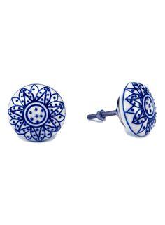 A Loja do Gato Preto | Puxadores de Cerâmica Azul/ Branco #alojadogatopreto
