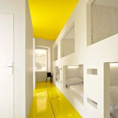 pintura teto e piso Goli & Bosi Design Hostel Croatia - yellow - bunk beds. Sleek, clean, modern, and perfect for the girls' roomif they continue sharing. Add some feminine touches. 29 Rooms, Bunk Rooms, Bunk Beds, Estilo Interior, Home Interior, Interior Architecture, Interior Design, Interior Office, Interior Ideas