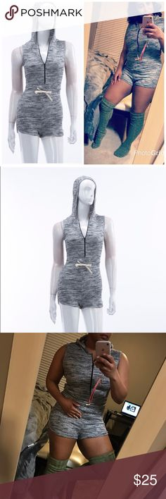 Mixed Grey Romper Lightweight, comfy romper in mixed grey. Features a black front zipper and ivory waist draw string. Easy to wear, great for around the house or town. Small (2-4), Medium (6-8), Large (10-12). Tops