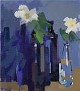 Bottles and White Flowers by Philip Richardson