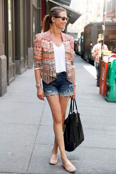 Casual yet dressy. LOVE. Hudson shorts, a Rebecca Minkoff jacket, Balenciaga tote, and Boutique 9 flats #streetstyle