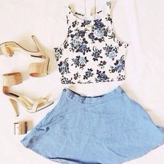 Everyday New Fashion: Denim Skirts Top Floral Cropped