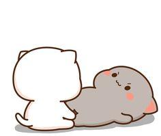 Cute Anime Cat, Cute Bunny Cartoon, Cute Kawaii Animals, Cute Couple Cartoon, Cute Cartoon Pictures, Cute Love Pictures, Cute Love Cartoons, Cute Cat Gif, Cute Gifs