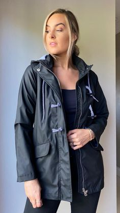 Luna Black Hooded Raincoat