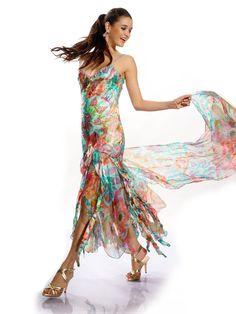 Multicolor Beaded Elegant Spaghetti Maxi Dress