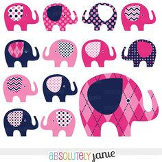Pink Navy Baby Elephant Digital Clipart - INSTANT DOWNLOAD - Girly Clip Art Commercial Use