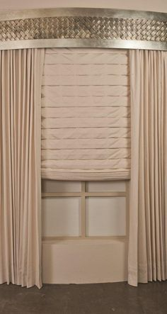 Curved Wall Motorized Roman Shades with Sculpted Steel Cornice Box by www.Perry-Design.com.