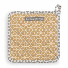 Topflappen VINTAGE aus Baumwolle, gelb/grau