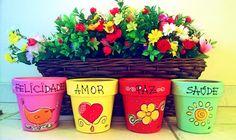 Image may contain: plant Painted Plant Pots, Painted Flower Pots, House Plants Decor, Plant Decor, Small Flower Pots, Flower Pot People, Party Set, Cement Art, Flower Pot Design