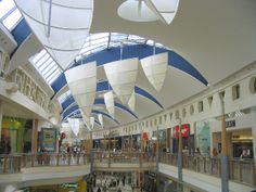 Decorative Ceiling Element, Natural Light, Indoor Public Space, White Stretched Fabric