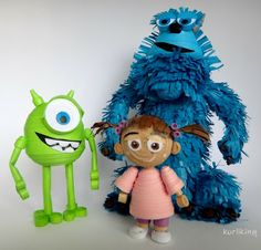 Monsters inc. characters made from paper using 3D paper quilling techniques!