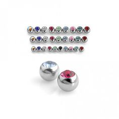 You'll get a three pack of stainless steel gem balls that fit most any or externally threaded barbell. Choose your ball size and gem color below. Cheap Body Jewelry, Body Jewellery, Belly Rings, Belly Button Rings, Tongue Rings, Body Piercing, Crystal Ball, Gemstones, Crystals