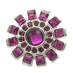 1 PC 18MM Purple Rhinestone Silver Candy Snap Charm ds5150 CC1665