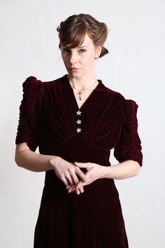 1940s Red Velvet Dress by VeraVague