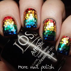 Nothing's better than looking at a glitter placement mani, and nothing worse that the back pain you get from doing the design 😢 Rainbow Makeup, Rainbow Nails, Rainbow Colors, Wall Paint Colors, Nail Colors, Colorful Nail Designs, Nail Art Designs, Glitter Nails, Fun Nails