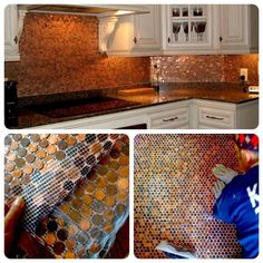 Penny copper backsplash. This DIY project cost the homeowner approximately 6000 pennies = $60.00