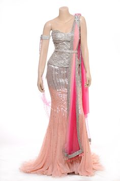 Raakesh Agarvwal https://www.facebook.com/raakeshagarvwal Mod DESI Wedding ~ embellished crystal worked fish-tail Lehenga in pink & silver with crystal bead embroidery Blouse   Corset