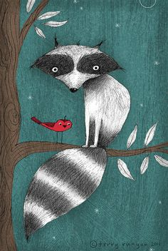 raccoon: Cushy Tail. And sweet little red bird. Beautiful illustration.