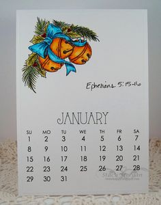 Jan Bells by Twinshappy - Cards and Paper Crafts at Splitcoaststampers January Calendar, Yearly Calendar, Calendar Ideas, Desk Calendars, Copic Markers, Jingle Bells, 9 And 10, Christmas Cards, Craft Projects