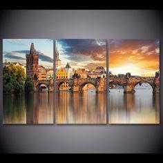 3 piece home decor European Prague Bridge wall pictures for living room