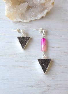 Asymmetrical Earrings / Mismatched / Black Druzy Triangle Jewelry / Geometric by MuffyandTrudy on Etsy