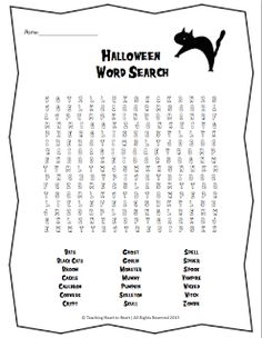 Halloween Double Puzzle- Students must first unscramble the 15 ...