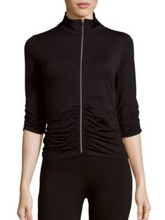 CALVIN KLEIN COLLECTION Ruched Zippered Jacket. #calvinkleincollection #cloth #jacket