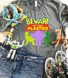 """One of our most popular t-shirts is our """"Beware of the Plastics"""" shirt and for good reason because who doesn't love a good Mean Girls/Disney mashup! Grab yours for your next Disney trip at The Printed Neutral and head to Toy Story Land in style! Cute Disney Outfits, Disney World Outfits, Disney Themed Outfits, Disneyland Outfits, Disneyland Trip, Disney Fun, Disney Girls, Disney Style, Disney Vacations"""