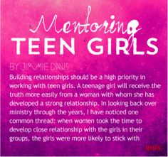 Interested in mentoring teenage girls?  Great!  Here's some stuff to consider beforehand.