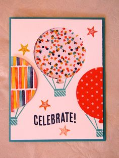 Stampin Up Celebrate Today stamp set and balloon thinlet