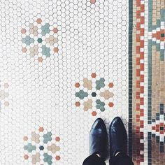 I think the tiles on this floor create a super cool pattern that would be a fun way to do different things in a bathroom.