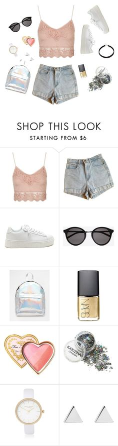 """""""Tatting♡"""" by viridiana-pulido ❤ liked on Polyvore featuring Topshop, American Apparel, Yves Saint Laurent, ASOS, NARS Cosmetics, Too Faced Cosmetics, River Island and Jennifer Meyer Jewelry"""