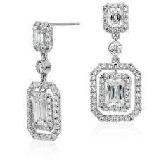 Blue Nile Brilliant Emerald-Cut Diamond Halo Double Drop Earrings