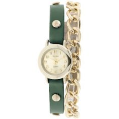 Decree Womens Teal Strap and Chain-Link Wrap Watch
