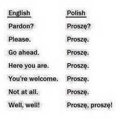 Lol, so many uses for proszę ! Polish Alphabet, Learn Polish, Polish To English, Polish People, Polish Words, Polish Memes, Polish Language, Online Tutoring, Lol