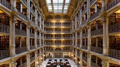 George Peabody Library, Johns Hopkins University, Baltimore, Maryland (Credit: Norm Barker, Johns Hopkins University)