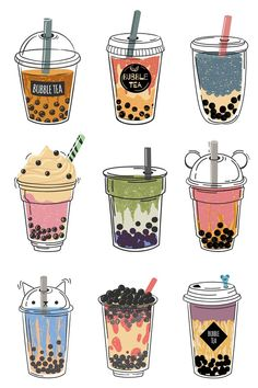 Cute Food Drawings, Cute Kawaii Drawings, Easy Drawings, Bubble Tea Shop, Bubble Milk Tea, Kawaii Stickers, Cute Stickers, Preppy Stickers, Tea Wallpaper