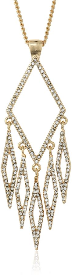 """Jessica Simpson Antique Gold/Crystal Chandelier Diamond Pendant Necklace, 28"""". Made in China. 28""""chadilier diamond pendant. Imported."""