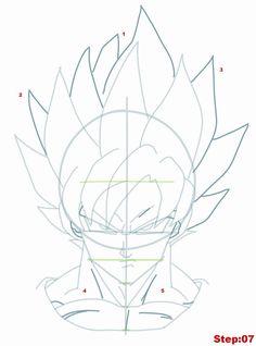 Drawing Goku Super Saiyan from Dragonball Z Tutorial Step 07