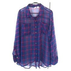 Sheer plaid button up Beautiful button up shirt! I absolutely love this, but it unfortunately doesn't fit me anymore. It's so comfortable and can easily be dressed up or down! Mudd Tops Button Down Shirts