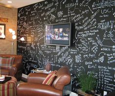 Chalkboard Wall Paint. Every time someone new comes over they can sign their name or you could write quotes or personalized notes.
