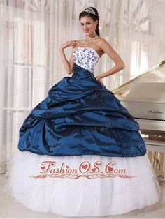Beautiful Quinceanera Dress Strapless Taffeta and Tulle Embroidery Ball Gown…