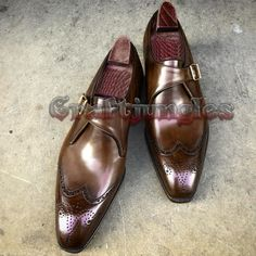 Handmade Brown Leather Shoes, Monk Wing Tip Dress Formal Shoes Men Leather Shoes sold by LeathersPlanet. Shop more products from LeathersPlanet on Storenvy, the home of independent small businesses all over the world. Brown Leather Shoes, Leather Dress Shoes, Biker Leather, Calf Leather, Leather Men, Soft Leather, Brown Formal Shoes, Formal Shoes For Men, Men's Shoes