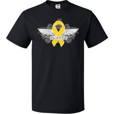 Show you fight strong with Neuroblastoma Fighter Wings T-Shirt featuring a cool grunge tattoo style wings on a scroll backdrop with an awareness ribbon #Neuroblastoma #NeuroblastomaAwareness #NeuroblastomaFighter