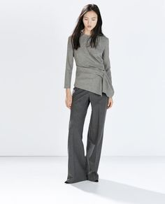 TOP WITH GATHERED SIDE-Blouses-Tops-WOMAN | ZARA United Kingdom