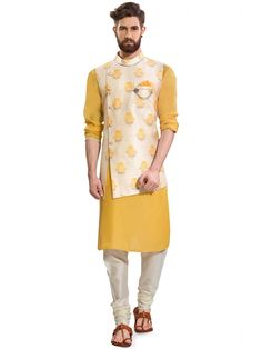 Cream And Yellow Colored Terry Rayon Waistcoat Set Mens Indian Wear, Mens Ethnic Wear, Indian Groom Wear, Indian Men Fashion, Boy Fashion, Mens Fashion, Sherwani For Men Wedding, Wedding Dresses Men Indian, Wedding Dress Men