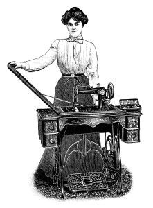 Free Vintage Image ~ Woman with Sewing Machine Clip Art