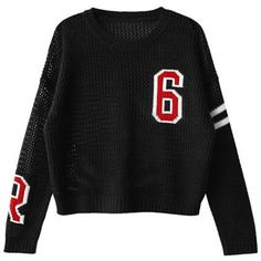 Casual Round Neck Long Sleeve Letter and Number Print Pullover Sweater... ❤ liked on Polyvore featuring tops, sweaters, long sleeve tops, long sleeve pullover sweater, pullover sweater, print pullover and long sleeve pullover
