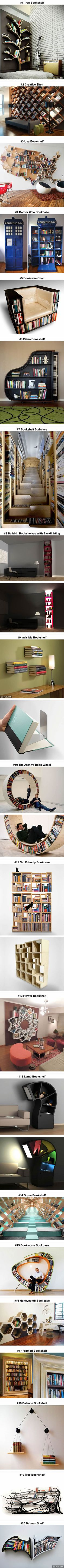 20 Most Creative Bookshelves Ever <<< That dome bookshelf is the most futuristic I have ever seen! So cool!