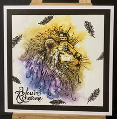 Created by Tracy Nutton using Pink Ink Design lion stamps and dye based ink. Animal Doodles, Cat Cards, Ink Stamps, Inspiration Wall, Doodle Drawings, Cursed Child Book, Fantasy Creatures, Cardmaking, Lion